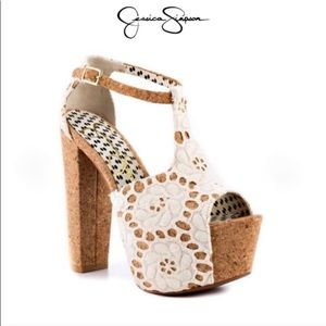 DANY4 Cream Nat Macrame Cork Platform Sandal